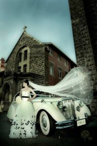 Natalie with the Jaguar Mk5 sedan bridal car