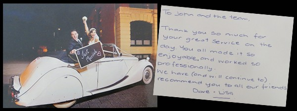 jaguar convertible wedding car