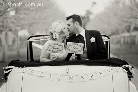 just married wedding car