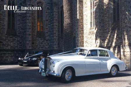 The Rolls Royce bridal car at St Michael's Chapel