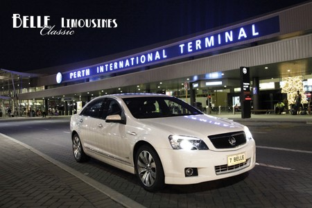 Our Caprice chauffeur car at Perth International Airport