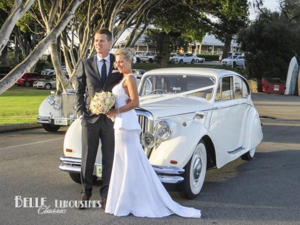 wedding portrait with car