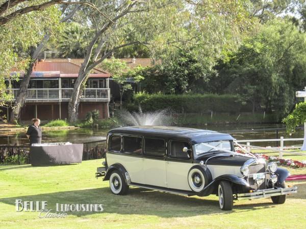 vintage wedding limousine