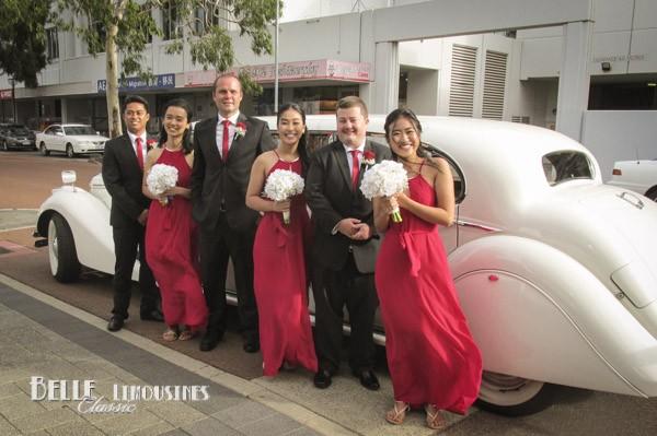 vintage wedding limo